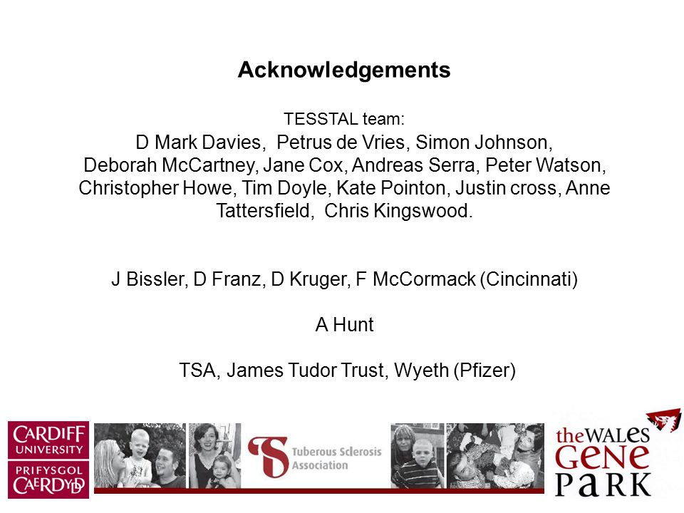 Acknowledgements TESSTAL team: D Mark Davies, Petrus de Vries, Simon Johnson, Deborah McCartney, Jane Cox, Andreas Serra, Peter Watson, Christopher Ho