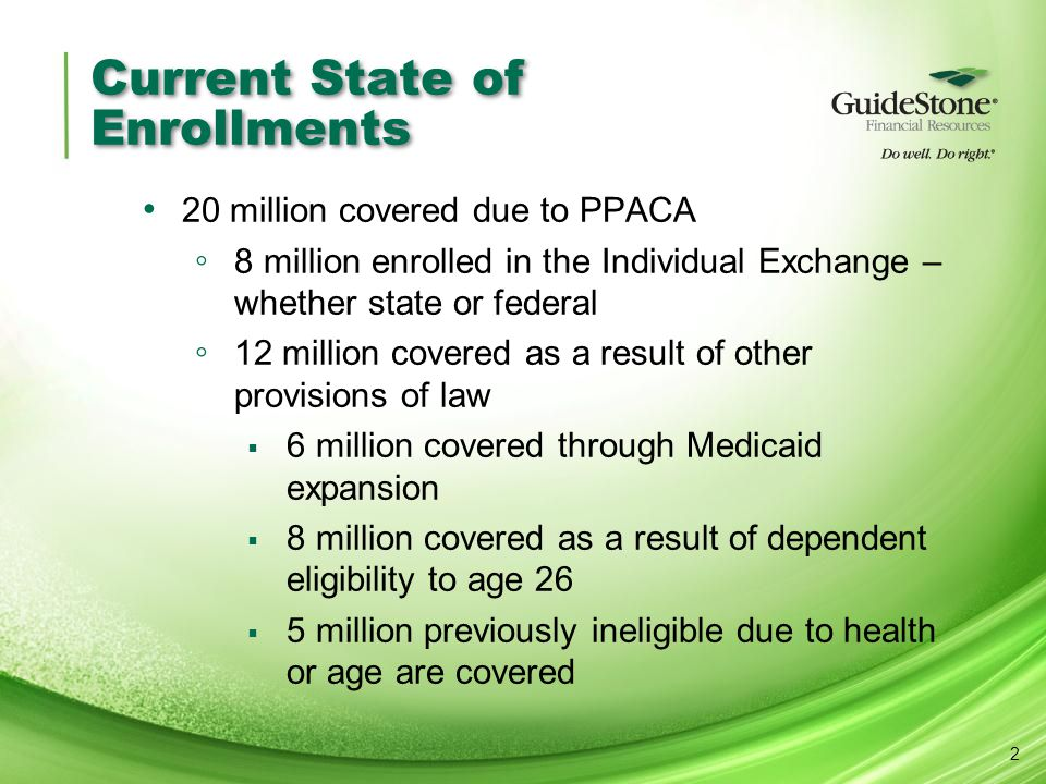 Current State of Enrollments 20 million covered due to PPACA ◦ 8 million enrolled in the Individual Exchange – whether state or federal ◦ 12 million covered as a result of other provisions of law  6 million covered through Medicaid expansion  8 million covered as a result of dependent eligibility to age 26  5 million previously ineligible due to health or age are covered 2