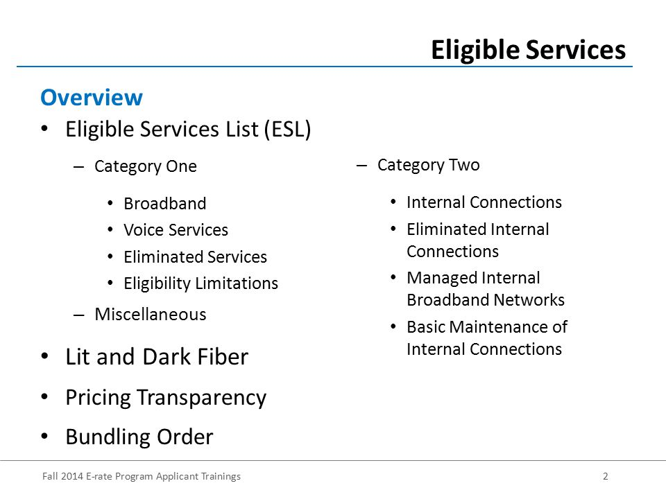 Fall 2014 E-rate Program Applicant Trainings3 The FY 2015 ESL was released October 28, 2014 Streamlined – For FY 2014, the ESL was 49 pages – For FY 2015, the ESL is 8 pages – Divides services into Category One (those providing high- speed connectivity to the building) and Category Two (those services providing high-speed connectivity throughout the building) Eligible Services Eligible Services List