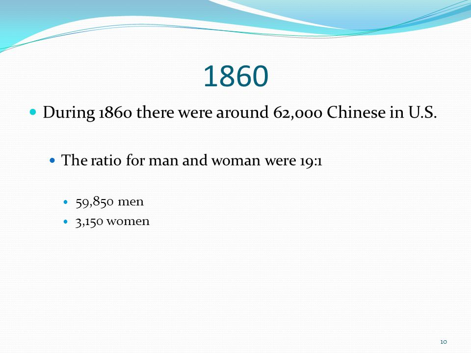 1860 During 1860 there were around 62,000 Chinese in U.S. The ratio for man and woman were 19:1 59,850 men 3,150 women 10