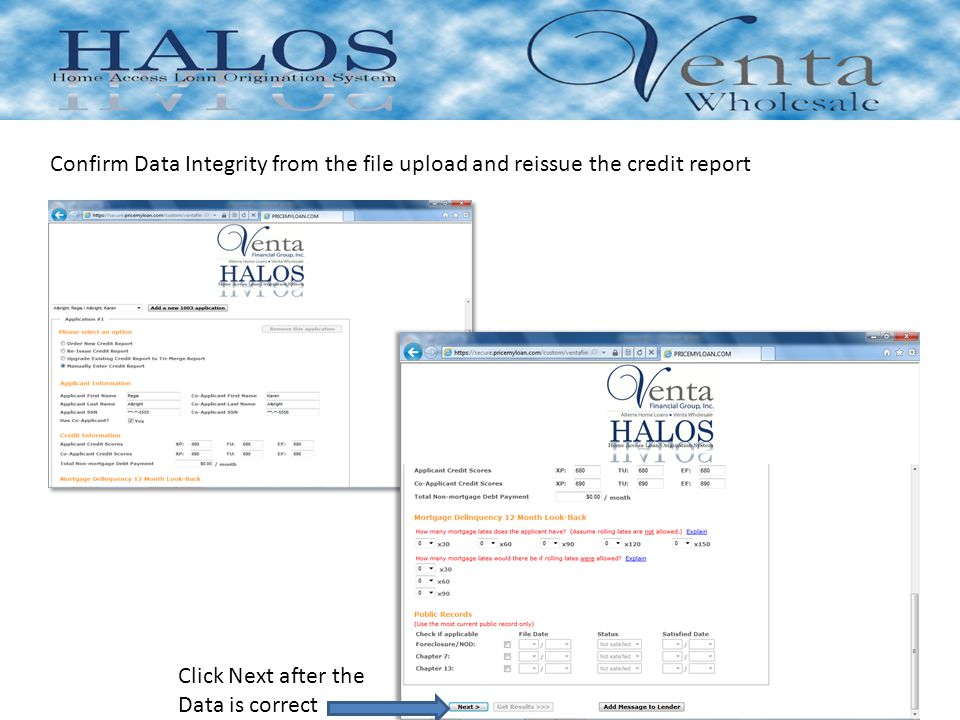 Confirm Data Integrity from the file upload and reissue the credit report Click Next after the Data is correct
