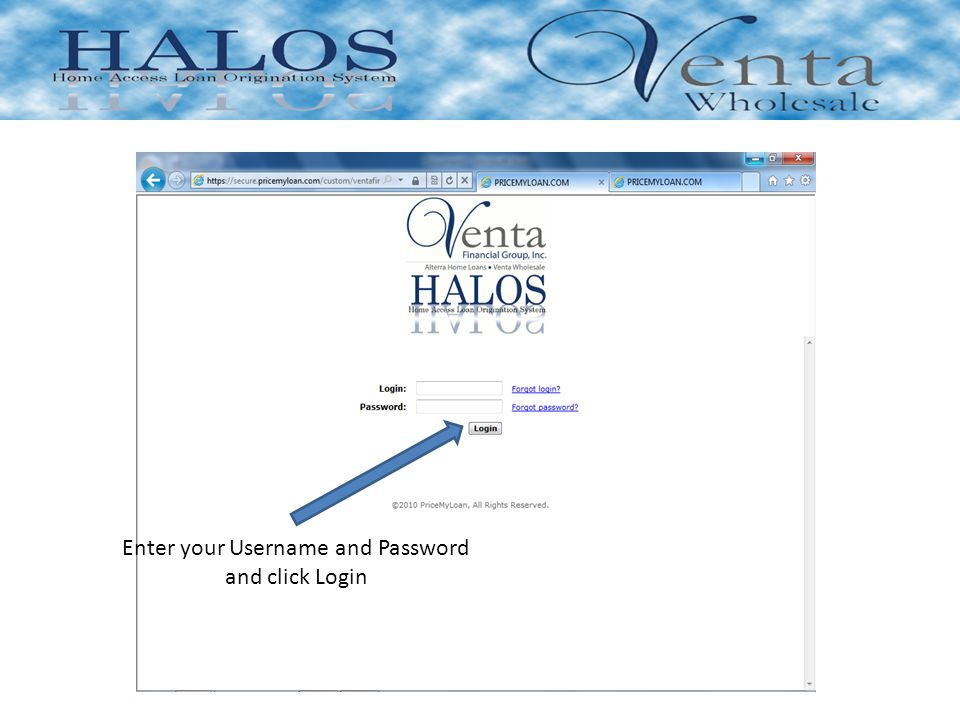 Enter your Username and Password and click Login