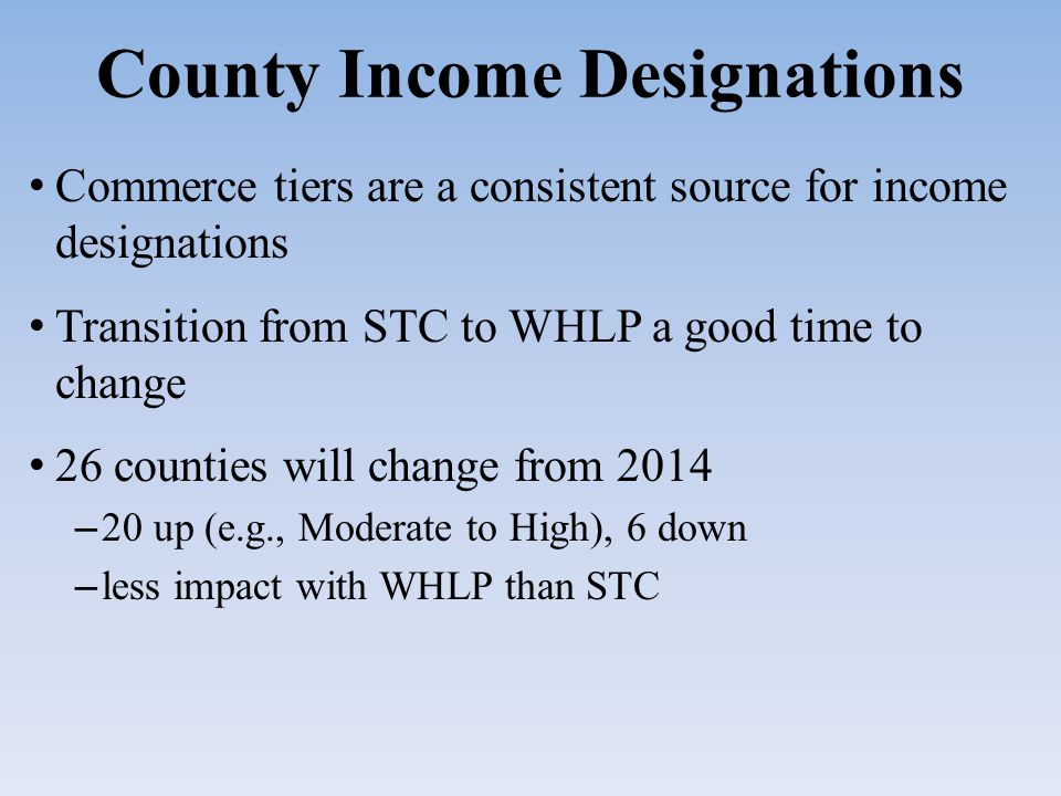 County Income Designations Commerce tiers are a consistent source for income designations Transition from STC to WHLP a good time to change 26 counties will change from 2014 – 20 up (e.g., Moderate to High), 6 down – less impact with WHLP than STC