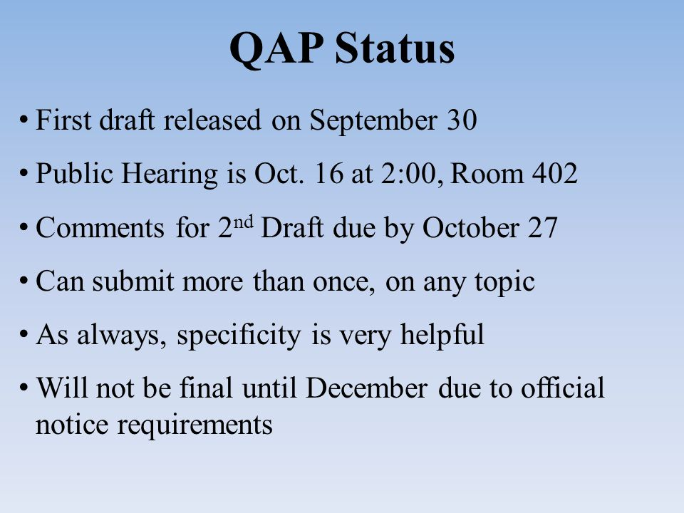 QAP Status First draft released on September 30 Public Hearing is Oct.