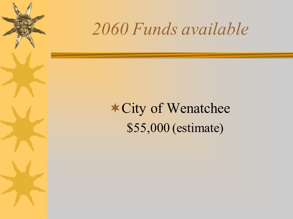 2060 Funds available  City of Wenatchee $55,000 (estimate)