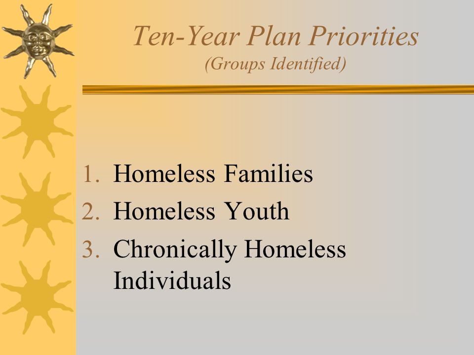 Ten-Year Plan Priorities (Groups Identified) 1. Homeless Families 2.