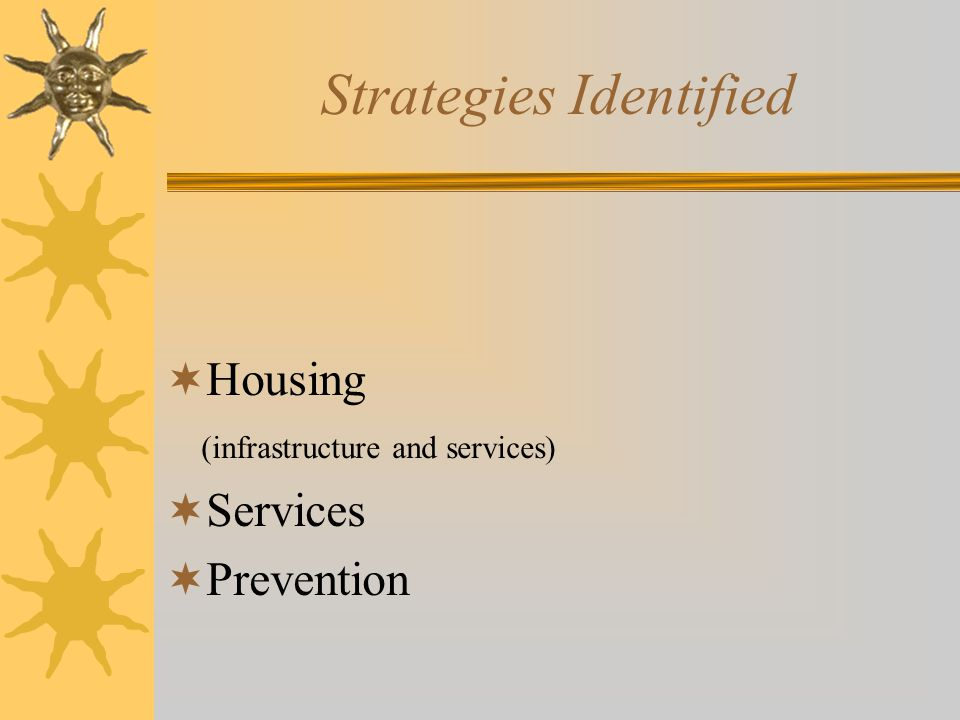 Strategies Identified  Housing (infrastructure and services)  Services  Prevention