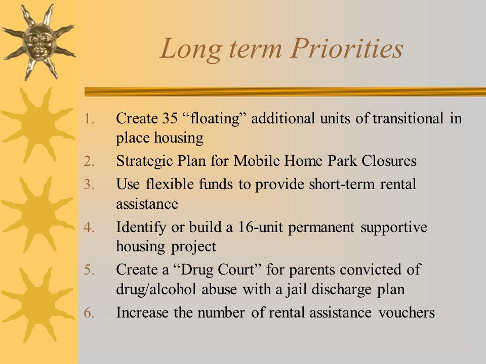 Long term Priorities 1. Create 35 floating additional units of transitional in place housing 2.