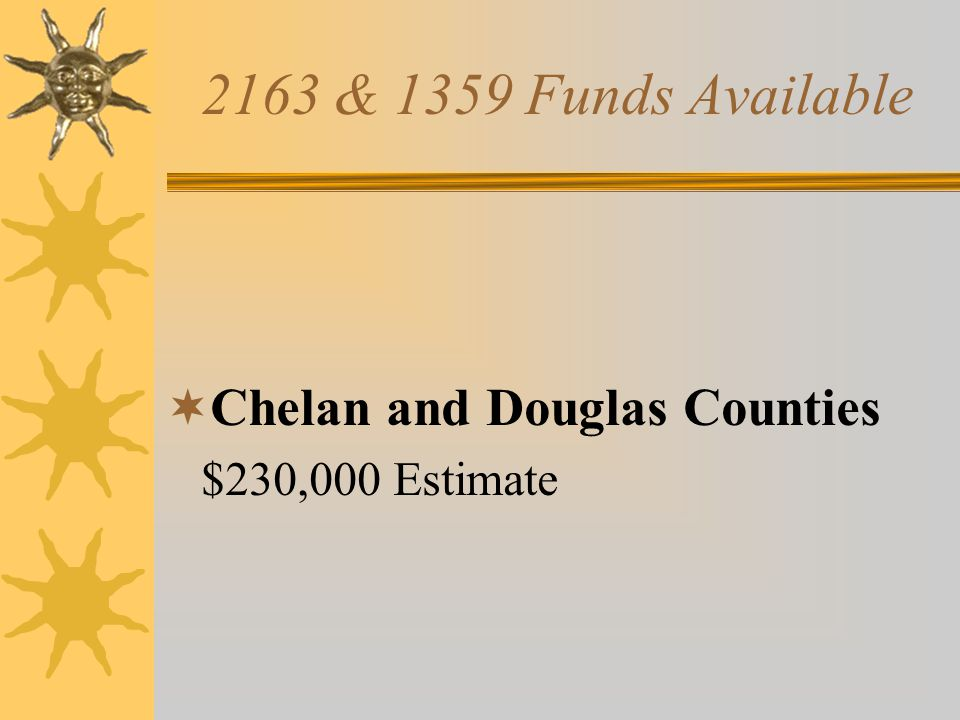 2163 & 1359 Funds Available  Chelan and Douglas Counties $230,000 Estimate