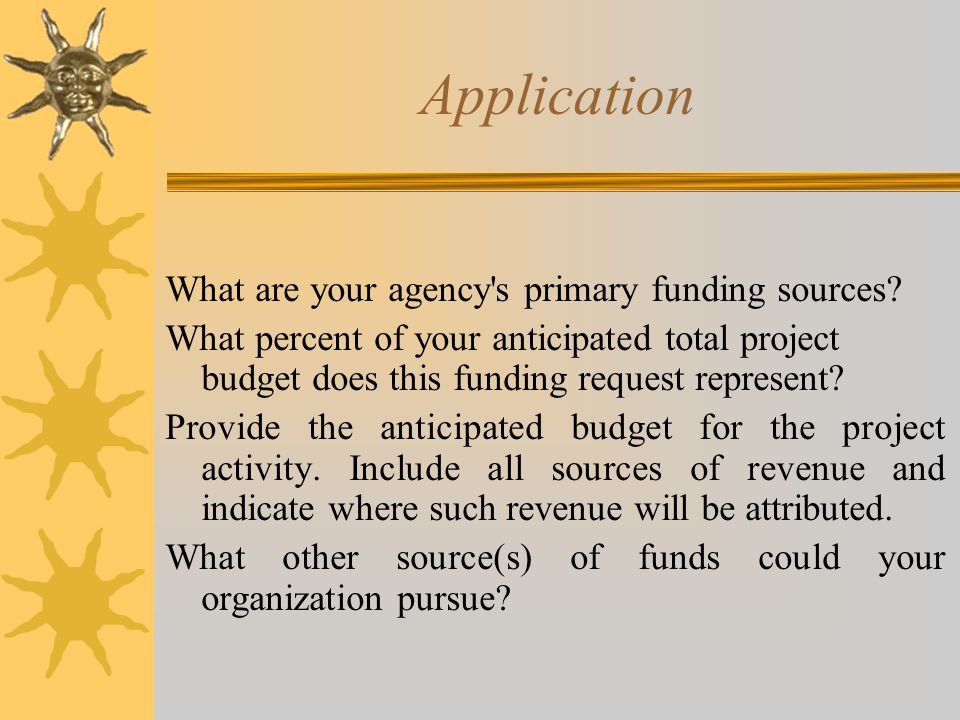Application What are your agency s primary funding sources.