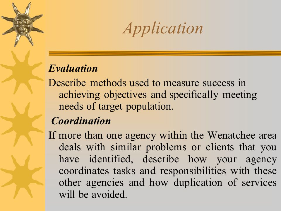 Application Evaluation Describe methods used to measure success in achieving objectives and specifically meeting needs of target population.