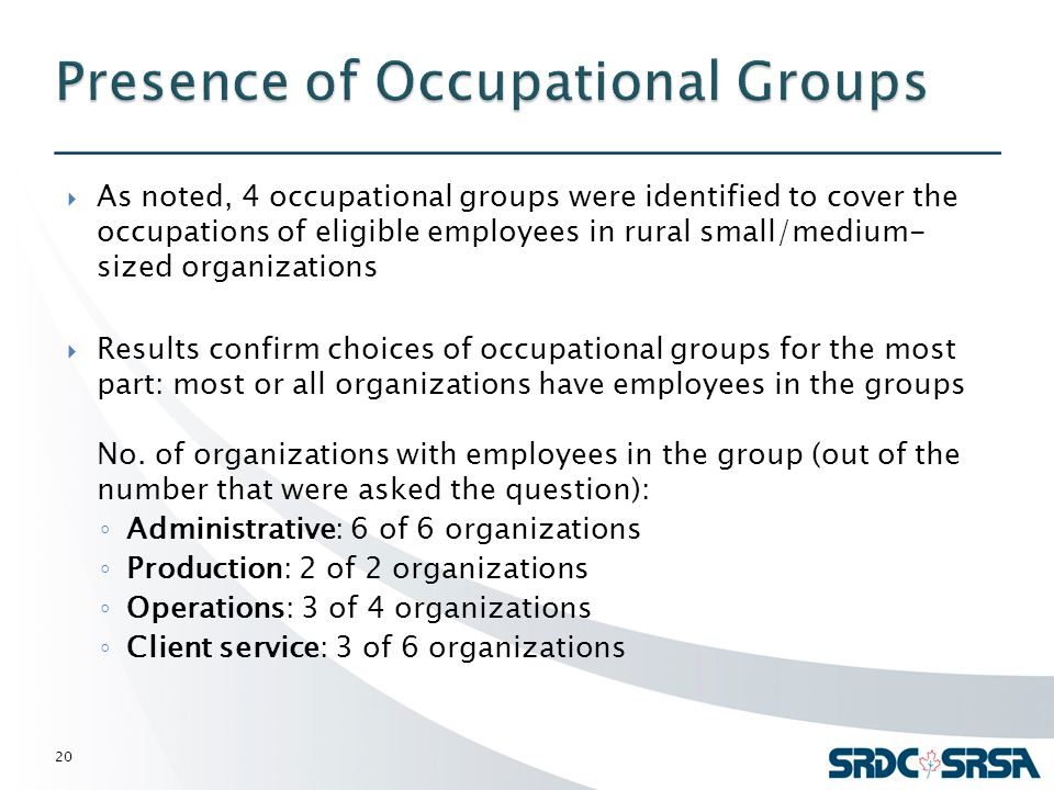  As noted, 4 occupational groups were identified to cover the occupations of eligible employees in rural small/medium- sized organizations  Results confirm choices of occupational groups for the most part: most or all organizations have employees in the groups No.