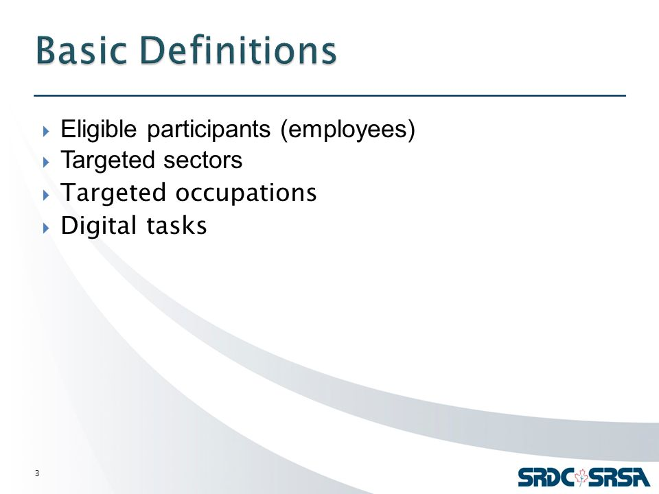  Eligible participants (employees)  Targeted sectors  Targeted occupations  Digital tasks 3