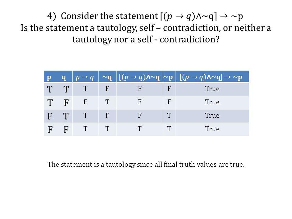 p q T TFFFTrue T F FTFFTrue F T TFFTTrue F TTTTTrue The statement is a tautology since all final truth values are true.
