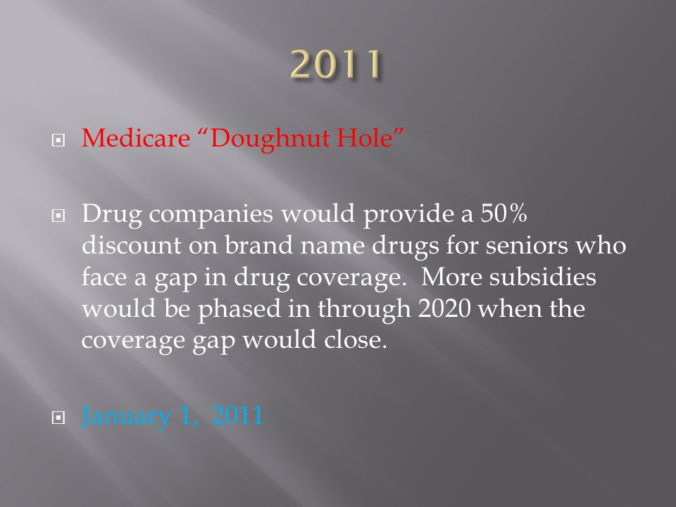 Medicare Doughnut Hole  Drug companies would provide a 50% discount on brand name drugs for seniors who face a gap in drug coverage.