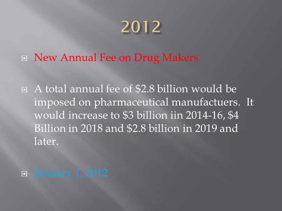 New Annual Fee on Drug Makers  A total annual fee of $2.8 billion would be imposed on pharmaceutical manufactuers.