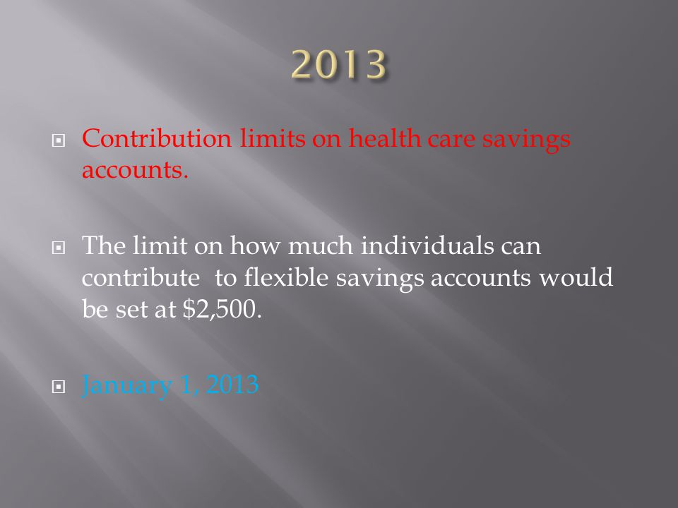  Contribution limits on health care savings accounts.
