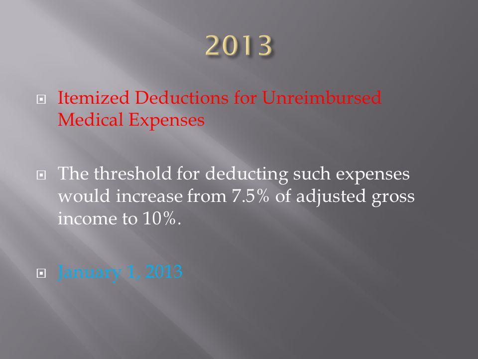  Itemized Deductions for Unreimbursed Medical Expenses  The threshold for deducting such expenses would increase from 7.5% of adjusted gross income to 10%.