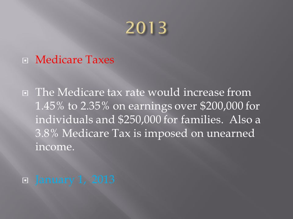  Medicare Taxes  The Medicare tax rate would increase from 1.45% to 2.35% on earnings over $200,000 for individuals and $250,000 for families.
