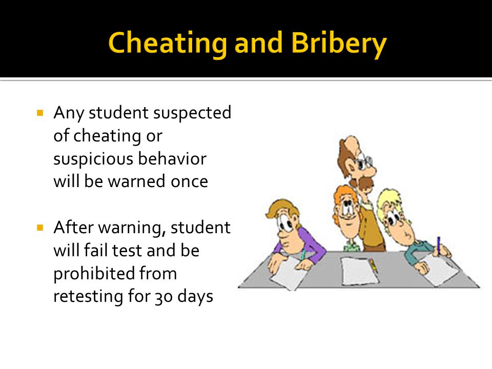  Any student suspected of cheating or suspicious behavior will be warned once  After warning, student will fail test and be prohibited from retesting for 30 days