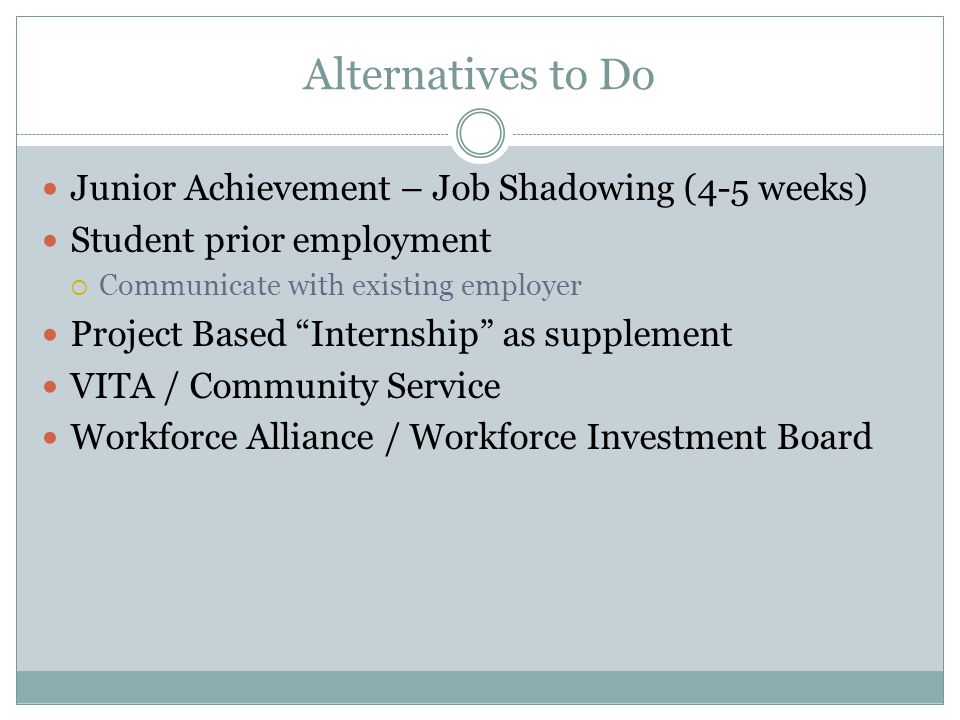 "Alternatives to Do Junior Achievement – Job Shadowing (4-5 weeks) Student prior employment  Communicate with existing employer Project Based ""Interns"