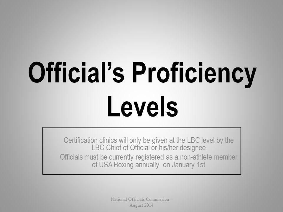 Certification clinics will only be given at the LBC level by the LBC Chief of Official or his/her designee Officials must be currently registered as a