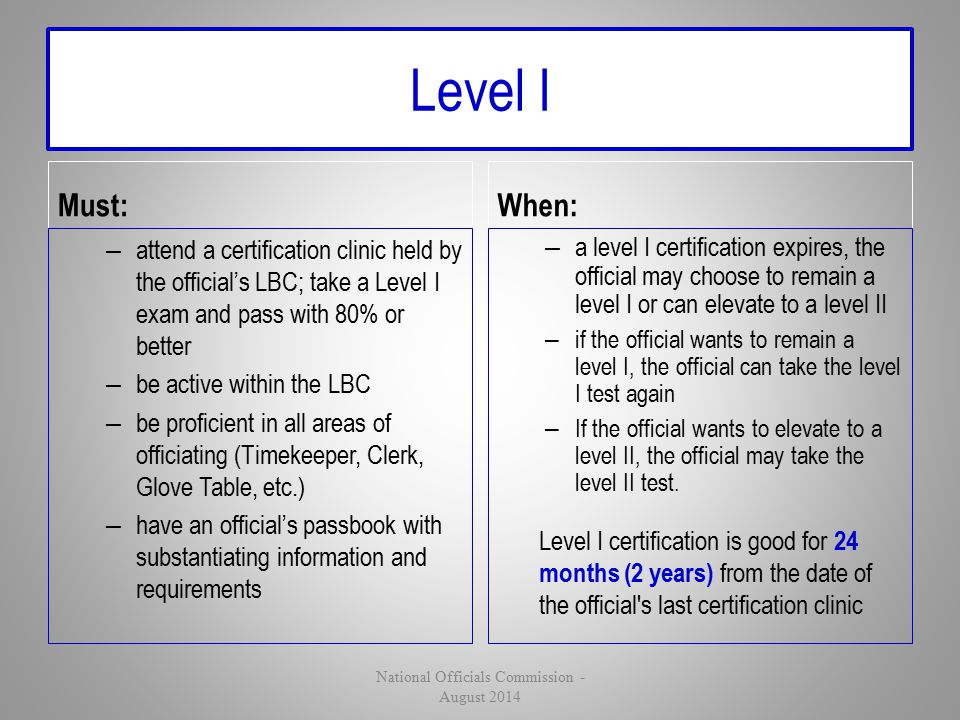 Level I Must: – attend a certification clinic held by the official's LBC; take a Level I exam and pass with 80% or better – be active within the LBC –