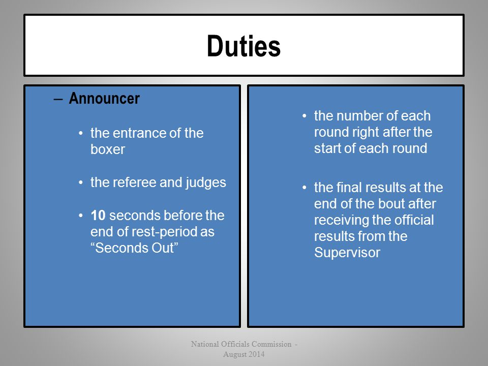 "Duties – Announcer the entrance of the boxer the referee and judges 10 seconds before the end of rest-period as ""Seconds Out"" the number of each round"