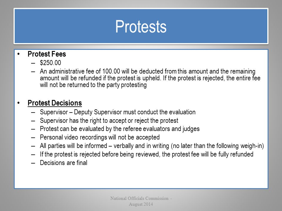 Protests Protest Fees – $250.00 – An administrative fee of 100.00 will be deducted from this amount and the remaining amount will be refunded if the p