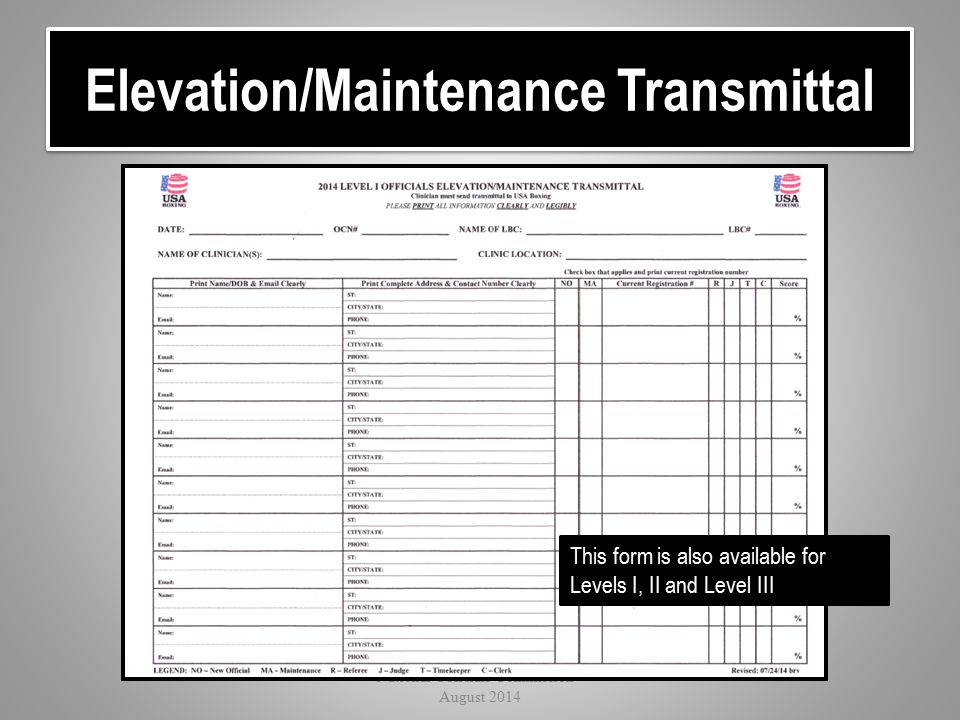 Elevation/Maintenance Transmittal National Officials Commission - August 2014 This form is also available for Levels I, II and Level III