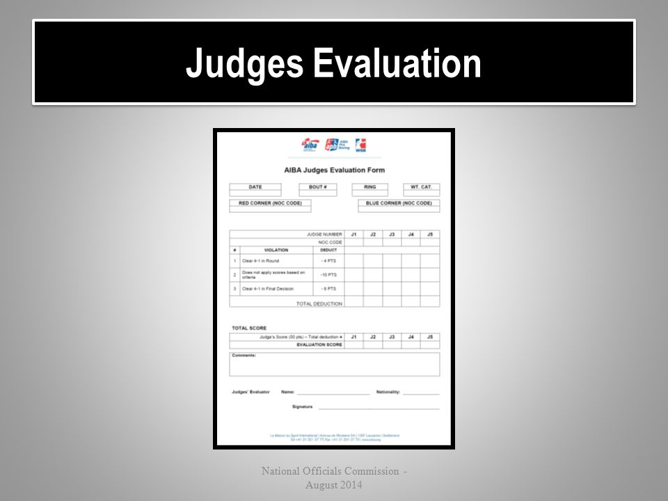 Judges Evaluation National Officials Commission - August 2014