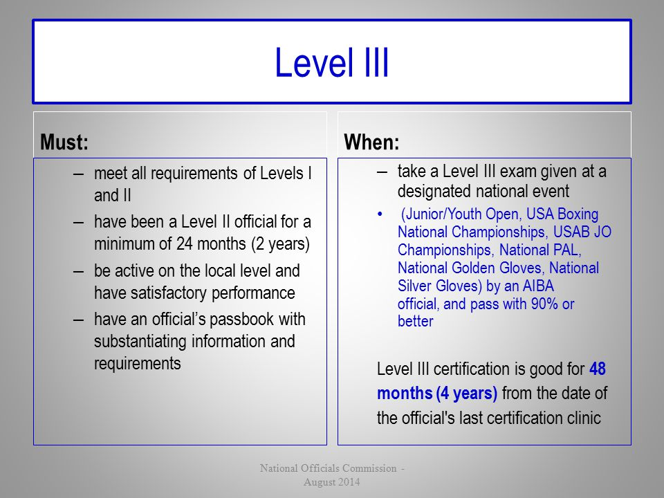 Level III Must: – meet all requirements of Levels I and II – have been a Level II official for a minimum of 24 months (2 years) – be active on the loc