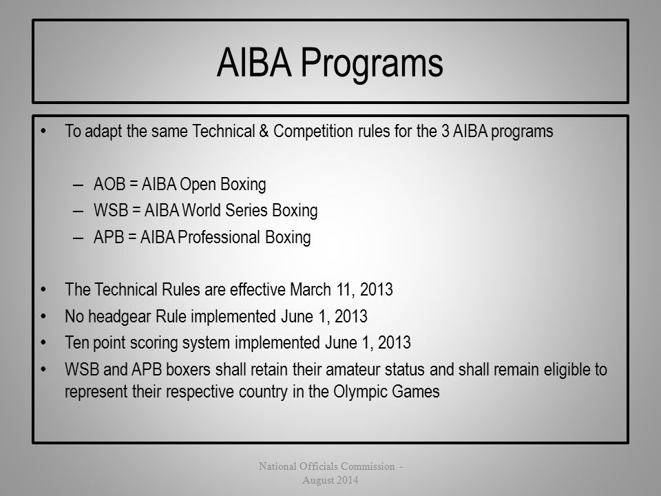 AIBA Programs To adapt the same Technical & Competition rules for the 3 AIBA programs – AOB = AIBA Open Boxing – WSB = AIBA World Series Boxing – APB