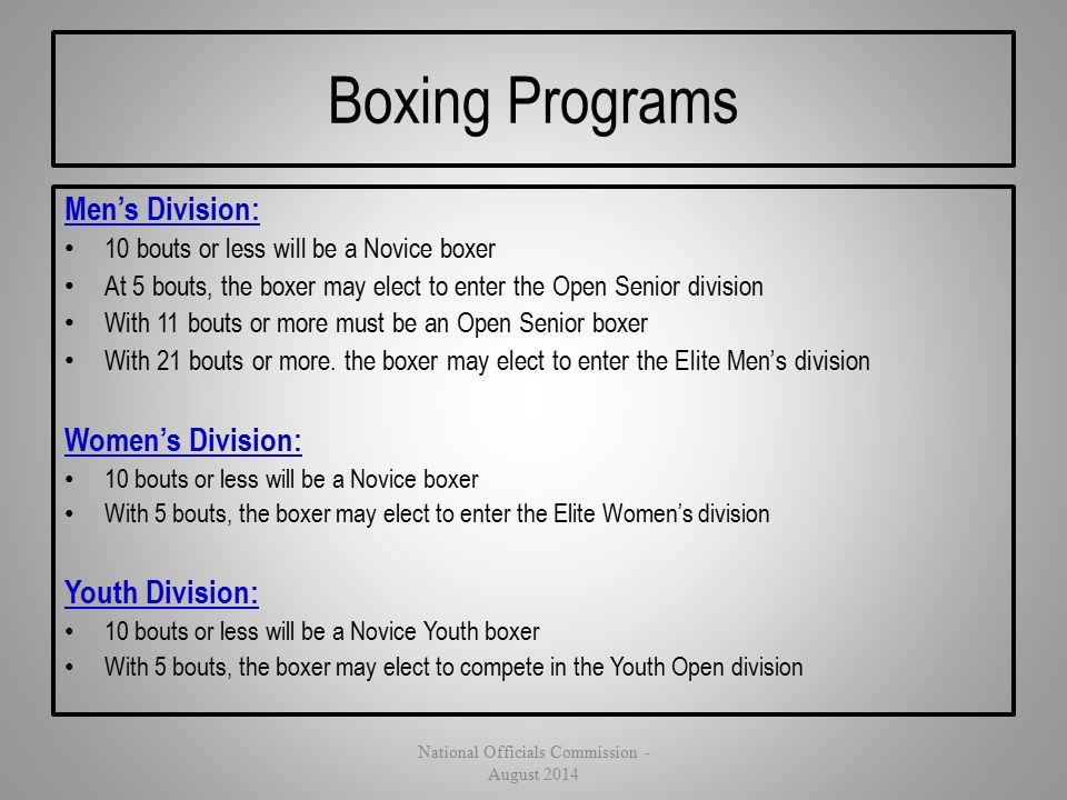 Boxing Programs Men's Division: 10 bouts or less will be a Novice boxer At 5 bouts, the boxer may elect to enter the Open Senior division With 11 bout