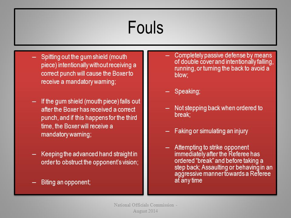 Fouls – Spitting out the gum shield (mouth piece) intentionally without receiving a correct punch will cause the Boxer to receive a mandatory warning;