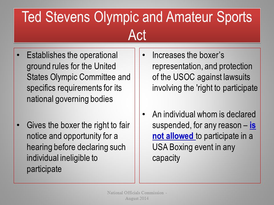 Ted Stevens Olympic and Amateur Sports Act Establishes the operational ground rules for the United States Olympic Committee and specifics requirements