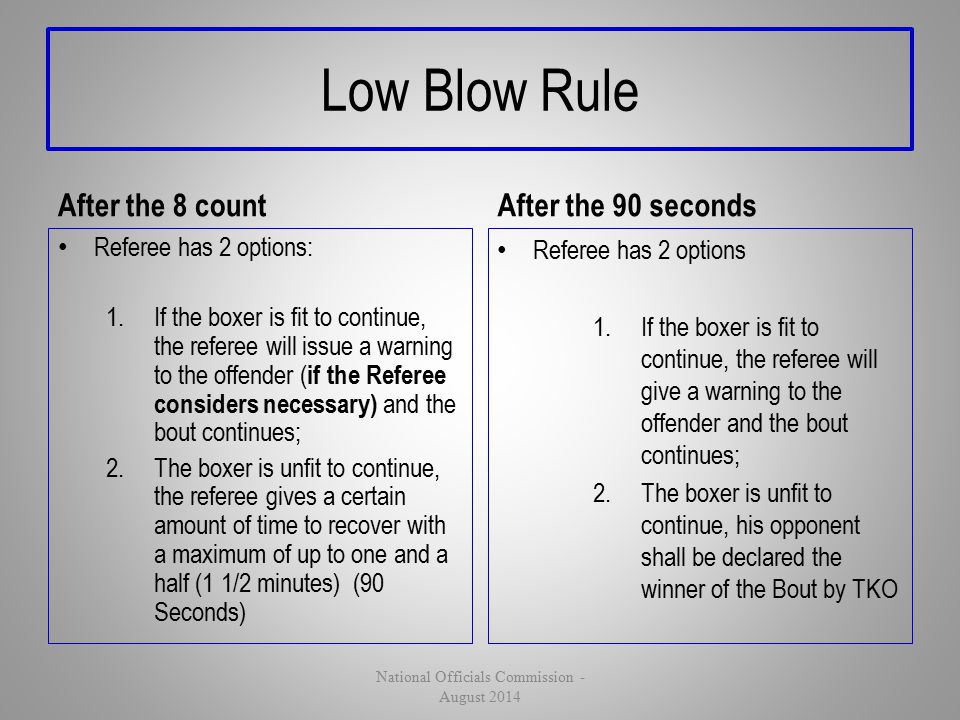 Low Blow Rule After the 8 count Referee has 2 options: 1.If the boxer is fit to continue, the referee will issue a warning to the offender ( if the Re