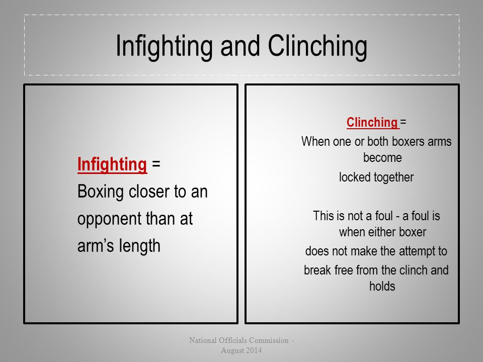Infighting and Clinching Infighting = Boxing closer to an opponent than at arm's length Clinching = When one or both boxers arms become locked togethe