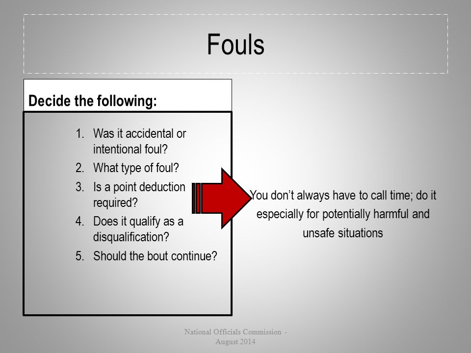Fouls Decide the following: 1.Was it accidental or intentional foul? 2.What type of foul? 3.Is a point deduction required? 4.Does it qualify as a disq