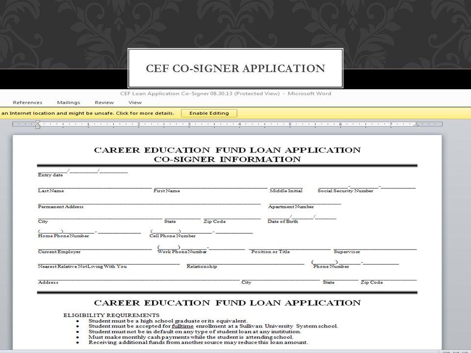 CEF CO-SIGNER APPLICATION
