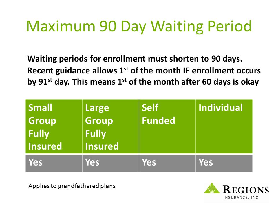 Maximum 90 Day Waiting Period Waiting periods for enrollment must shorten to 90 days. Recent guidance allows 1 st of the month IF enrollment occurs by