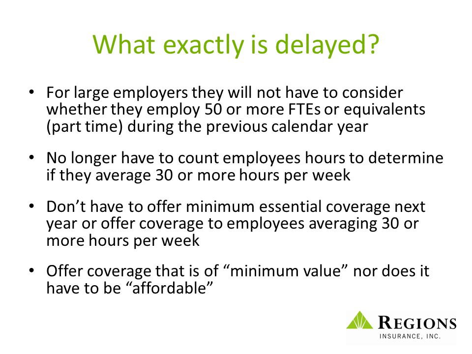 What exactly is delayed? For large employers they will not have to consider whether they employ 50 or more FTEs or equivalents (part time) during the