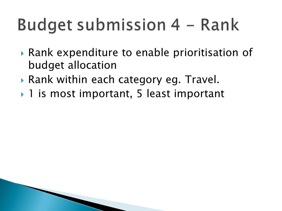  Rank expenditure to enable prioritisation of budget allocation  Rank within each category eg.