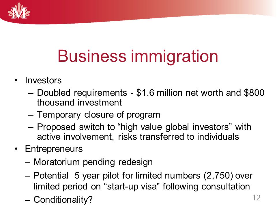 """Investors –Doubled requirements - $1.6 million net worth and $800 thousand investment –Temporary closure of program –Proposed switch to """"high value gl"""