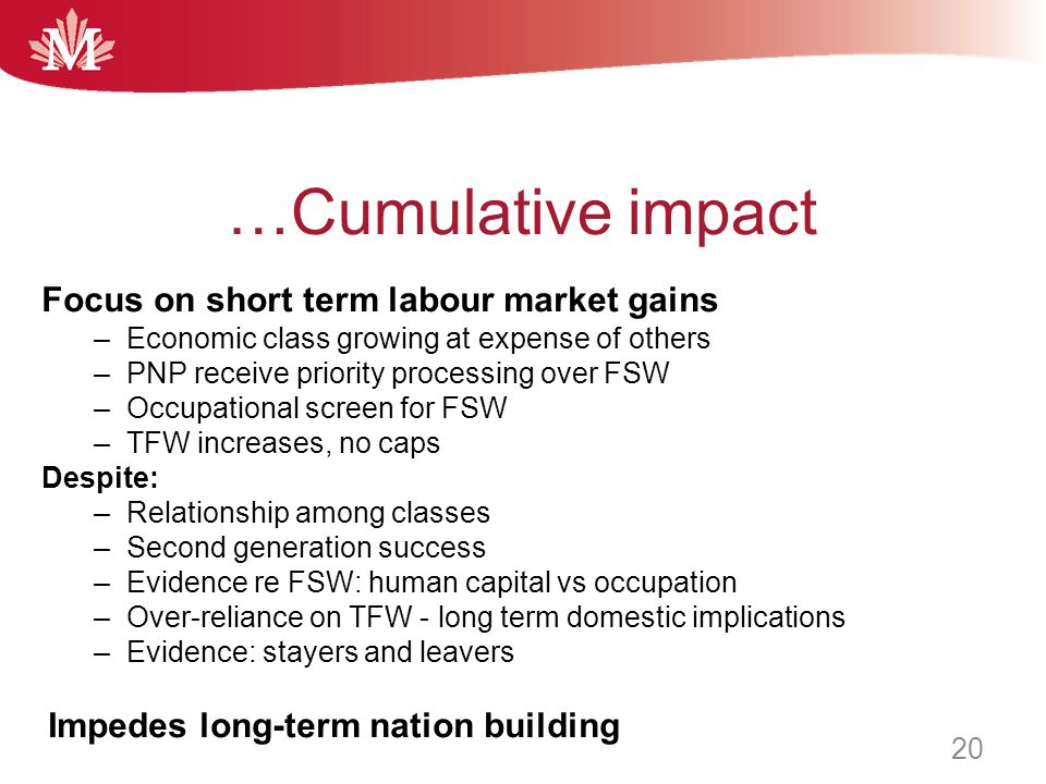 …Cumulative impact Focus on short term labour market gains –Economic class growing at expense of others –PNP receive priority processing over FSW –Occ