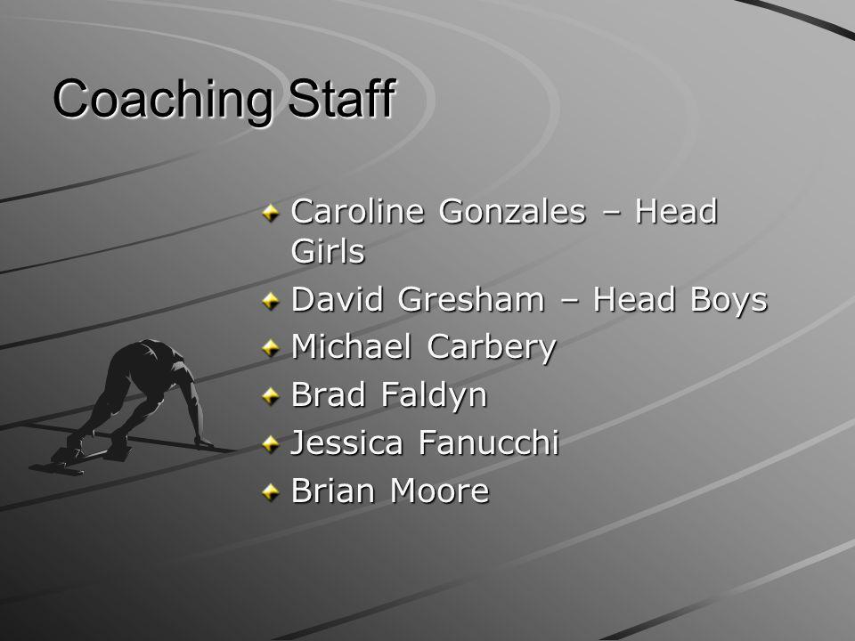 Coaching Staff Caroline Gonzales – Head Girls David Gresham – Head Boys Michael Carbery Brad Faldyn Jessica Fanucchi Brian Moore