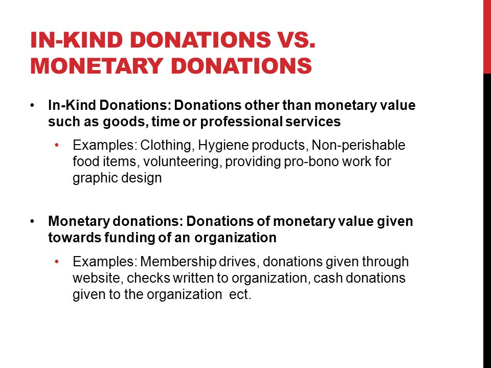 IN-KIND DONATIONS VS.