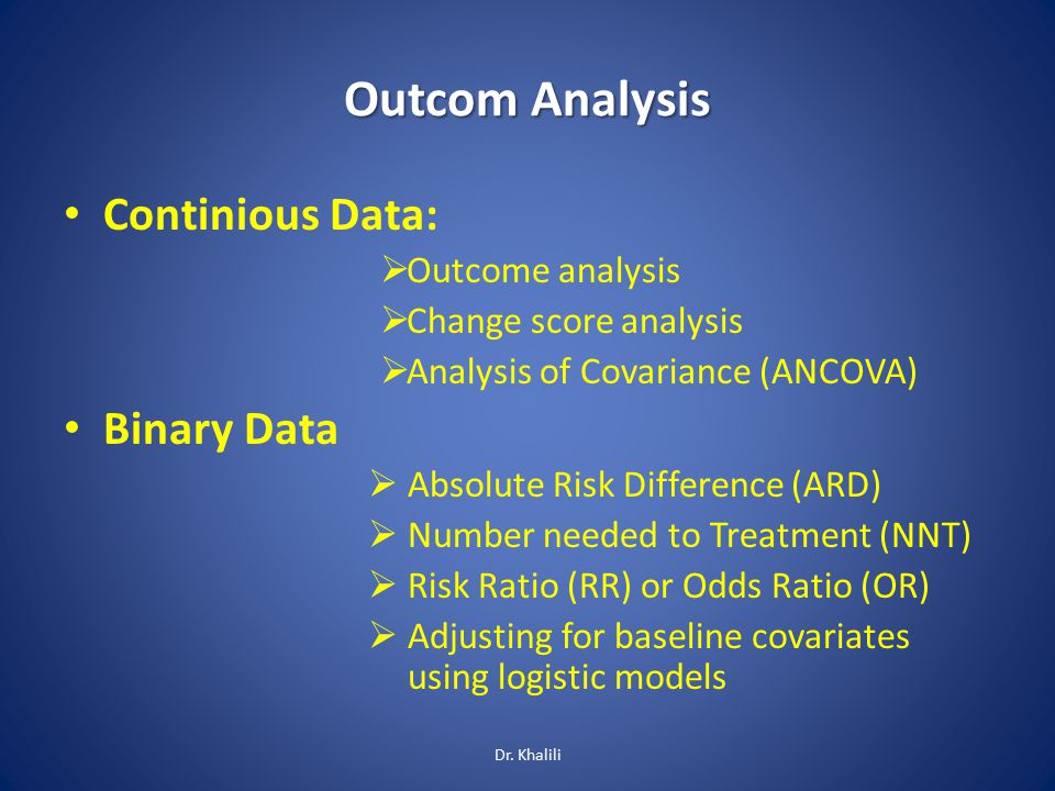 Outcom Analysis Continious Data:  Outcome analysis  Change score analysis  Analysis of Covariance (ANCOVA) Binary Data  Absolute Risk Difference (