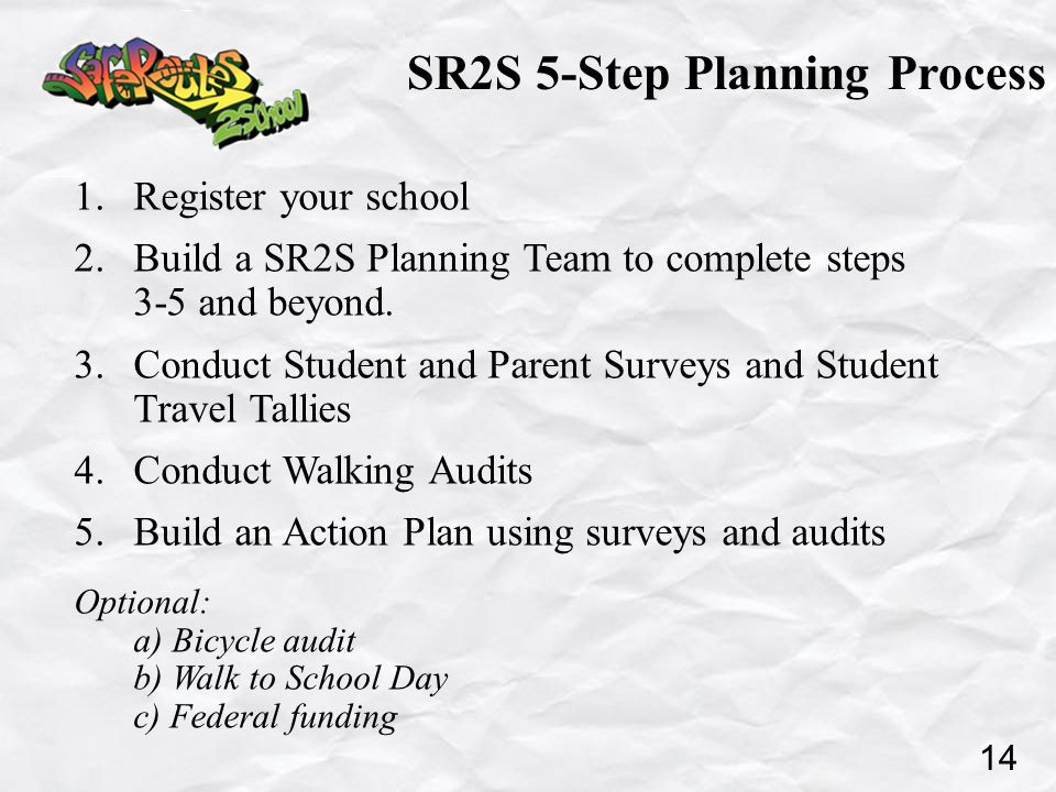 SR2S 5-Step Planning Process 1. Register your school 2.