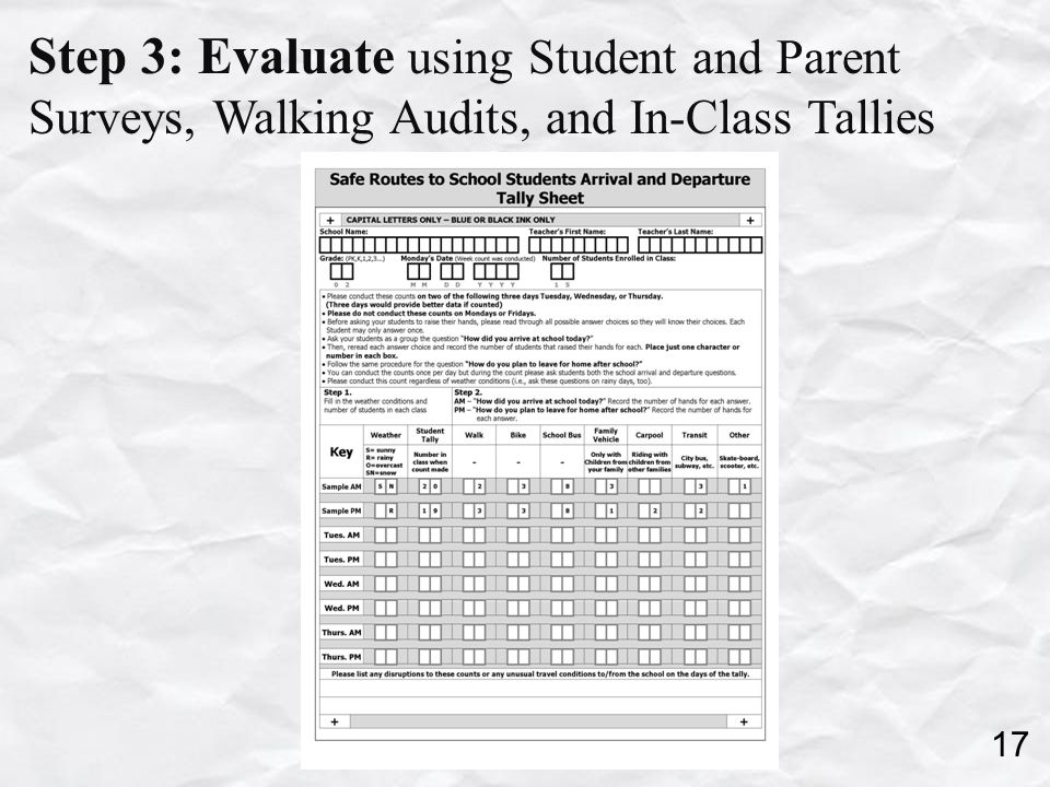 Step 3: Evaluate using Student and Parent Surveys, Walking Audits, and In-Class Tallies 17
